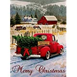 Dyrenson Home Decorative Merry Christmas Garden Flag, Xmas Quote House Yard Flag with Red Truck, Burlap Rustic Winter Garden Yard Decorations, Vintage Seasonal Outdoor Flag 12 x 18 for Holiday