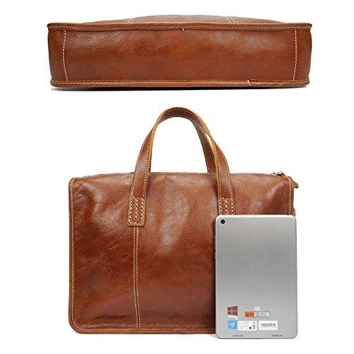 WWUX Retro Herrentaschen Echtes Leder Männer Aktentaschen Business Taschen Gelegenheits Reisen Laptop-Taschen Cross-Body-Schultertasche Brown RFGzhpv