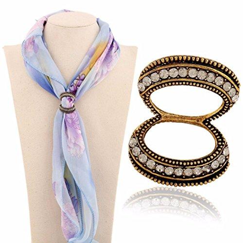 [Hunputa Women's Elegant Diamante Double Rings Scarves Buckle,Silk Scarf Clips Jewelry Shawls Accessories (Bronze)] (Buckle Silk)