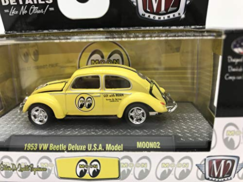 M2 Machines by M2 Collectible Moon 1953 VW Beetle Deluxe U.S.A. Model 1:64 Scale MOON02 18-45 Yellow Details Like NO Other! 1 of 7200