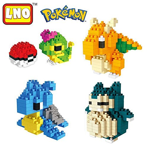 [LNO Nano Block Pocket Monster Pokemon Snorlax Diamond Mini Building Toys 4pcs] (Froakie Costume)