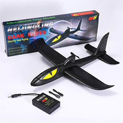 Fullwei Glider Aircraft Electric Throwing Foam Airplane DIY Assembled Model Outdoor Sports Flying Toy for Kids As Gift (Black) -