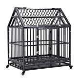WALCUT 42' Heavy Duty Dog Crate Strong Metal Pet Cage Kennel with Roof Playpen w/Wheels & Tray Silver(42.5' L x 30' W x 50' H)