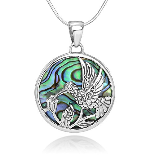 Sterling Silver Hummingbird Drinking Flower Nectar Abalone Shell Round Pendant Necklace 18