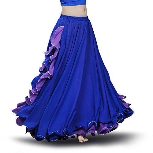 ROYAL SMEELA Women's Belly Dance Chiffon Skirt ATS Voile Maxi Full Tribal Bellydance Dress Dark Blue One Size - Gypsy Blue Apparel