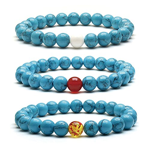 Weelovee Stretch Mala Buddha Beads Bracelet Women Mens Blue Turquoise Craft Natural Round Stone String Yoga Prayer Meaning Healing Karma Jewelry Set 3pcs