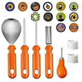 #10: Kits4pets Pumpkin Carving Kit-5PCS Professional Pumpkin Carving Tools for Halloween Jack-O-Lantern Sculpting.With 2 LED Candles,10 Cookie Bags,24 Halloween Stickers,Perfect for Halloween Decoration