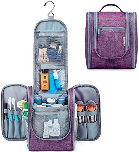 Hanging Travel Toiletry Bag Kit Cosmetic Makeup Organizer for Women and Girls (Purple)