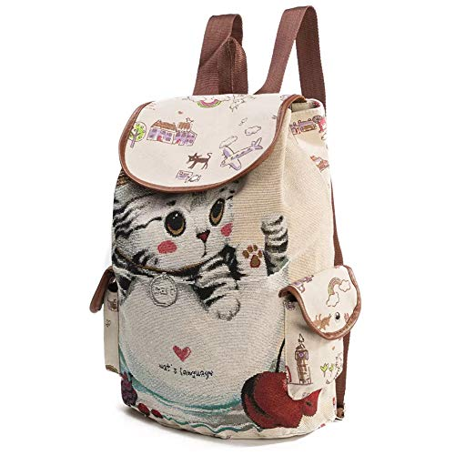 SEY Girl's School Canvas Backpacks,Cute Cat Casual Shoulder Daypacks for Women's travel and Hiking
