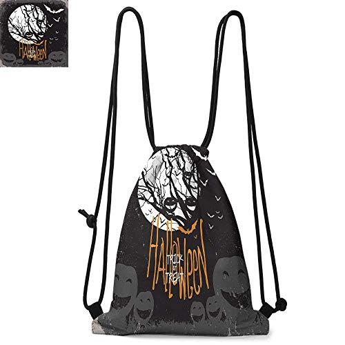Vintage Halloween Durable Drawstring Backpack Halloween Themed Image with Full Moon and Jack o Lanterns on a TreeSuitable for carrying around W13.4 x L8.3 Inch Black White]()