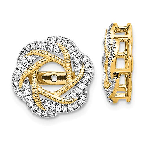 14K Yellow Gold Diamond Love Knot Earring Jackets 4.50 mm Opening for Stud Earrings (0.328Cttw)