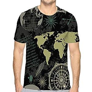 Shiyiqi4 Camiseta para Hombre sin Costuras, Vintage, Globo, brújula, mapamundi, Viento, Rosa, Vintage, Globo, Compass, Mapa del Mundo