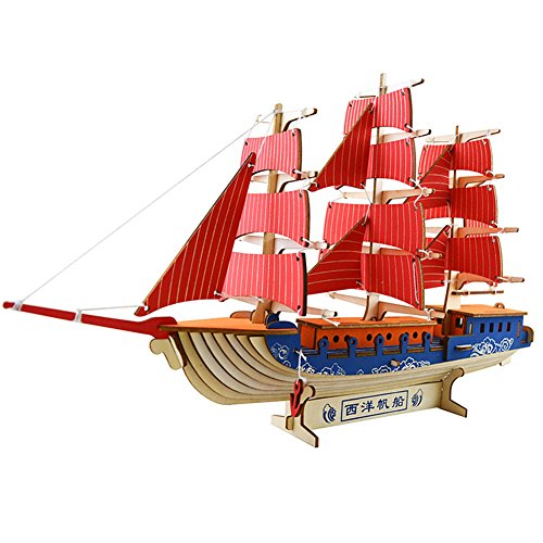 3D Wooden Puzzle Toy Mini Ship Boat Model, Great Gift Educational Build Jigsaw Toys for Kids, Adults (Chinese style red (Chinese Boat)