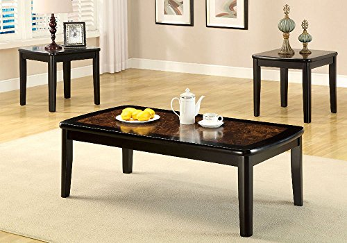 1PerfectChoice 3 pcs Living Room Cocktail Coffee End Side Table Set Faux Marble Table Top Black