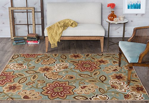 Universal Rugs Delphine Transitional Floral Seafoam Recta...