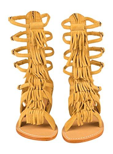 Mystique Gladiator Sandals (Light Brown Fringe) (9)