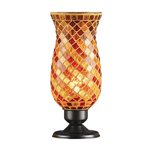Collections Etc Glass Mosaic Tile Hurricane Table Lamp for Office, Livingroom, Bedroom, Diamond Pattern, (Amber Copper Mosaic Glass)