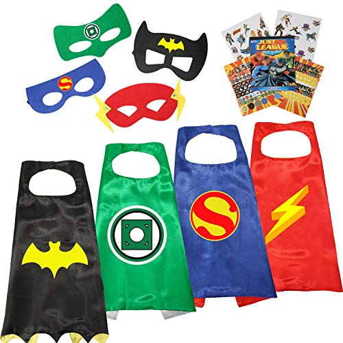 Young Justice Costumes For Kids (Justice League Superheros Cape and Mask Bonus Stickers with Original Superheros Emblem for Kids (Boys Cape)