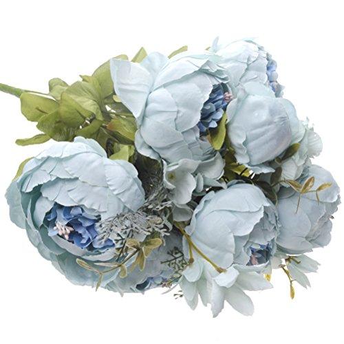 Artificial Peony Silk Flowers Bouquet Fake Flowers Home Wedding Decor (Light Blue)