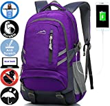 ANTSANG Backpack Bookbag for School Student College Business Travel with USB Charging Port (Purple)