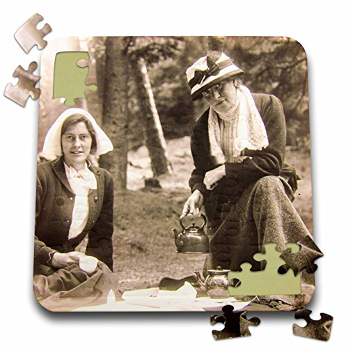 Scenes from the Past Magic Lantern Slides - Vintage Edwardian Ladies Taking Tea Outside in England Circa 1900 - 10x10 Inch Puzzle (pzl_269911_2)