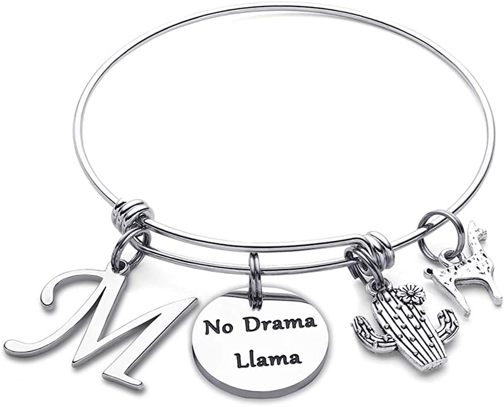 No Drama Llama Expandable Charm Bracelet Llama Jewelry for Women Girls Llama Lover Gifts for Her M MOOHAM Llama Gifts Initial Bracelet for Women