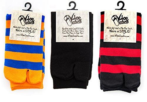 V-Toe Red Variety Striped Flip Flop Tabi Socks - 3 Pairs ()