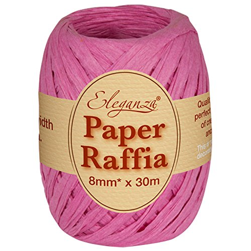 Eleganza 8 mm x 30 m Paper Raffia for Variety of Craft Projects and Gift Wrapping, No.28 Fuchsia Oaktree UK 630048