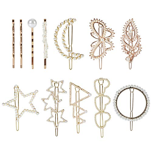 (12 Pack Korean Gold Vintage Geometric Triangle Circle Moon Butterfly Leaf Minimalist Pearl Metal Hair Clip Snap Barrette Clamp Bobby Pins Alligator Hairpins Wedding Party Bridal Decorative Accessories)