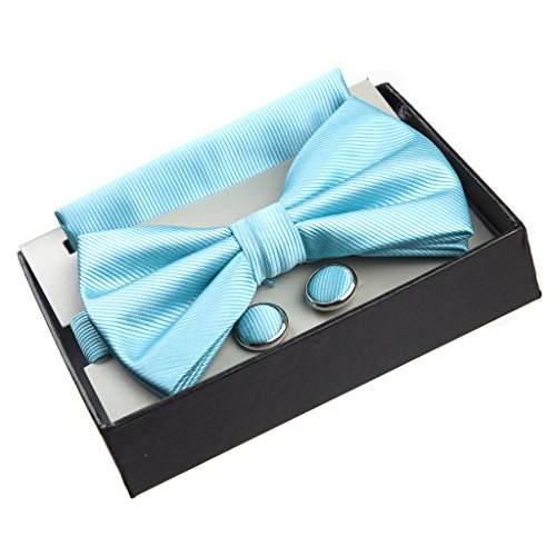 tern Pre-Tied Bow Tie with Pocket Square and Cufflinks Gift Set - Aqua ()