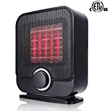 SUNPOLLO Personal Ceramic Space Heater,1500W Small/Mini Electric PTC Heater for Room Office Floor Under Desk, Over-Heat Protection and Tip-Over Protection, ETL Safety