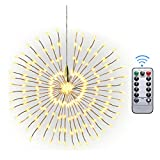 Hanging Fireworks Fairy Lights 200 LED, IP65 Waterproof Copper Wire, Battery Operated, Wireless Remote Control Bouquet Lights, Outdoor Light for Garden Patio Room Wedding Party Christmas (Warm White)