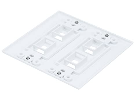 Amazon Com Monoprice 2 Gang Wall Plate For Keystone 4 Hole