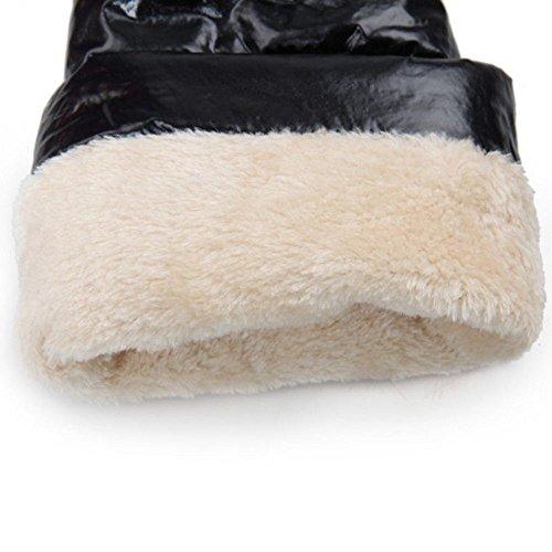 Fur Winter Black Snow Warm KemeKiss Boots high Inner Knee Women's wRHZtqP