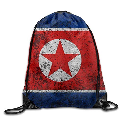CHJOO Democratic People S Republic Of Korea Flag Gym Beam Port Drawstring Shoulder Travel Canvas Backpack Bag ()