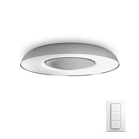Philips Hue White ambiance Still - Plafón gris metalizado LED con mando, Iluminación inteligente,