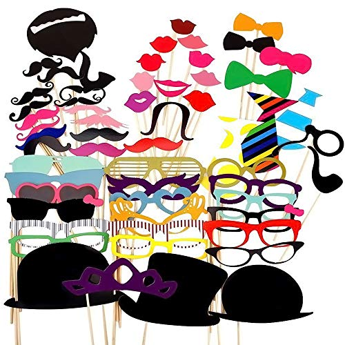 Photo Booth Props Hats (Party Props for Photo Booth Birthday Wedding Kids Adult Prom 58 Pcs, DIY Funny Skywoo Costumes with Mustache on a stick, Hats, Glasses, Mouth, Bowler,)