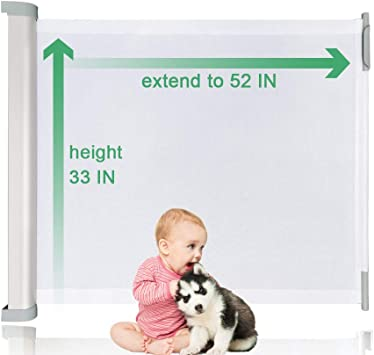 Wiscky Extra Width 59 Inch 33 Inch Tall Child Gate Indoor Outdoor Retractable Gate for Doorways Stairs Doors Baby Retractable Gate Safety Pets-Mesh-Gates