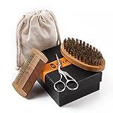 WOWAX Beard Grooming Kit for Men, Sandalwood Comb, Boar Bristle Beard Brush and Hair Scissors