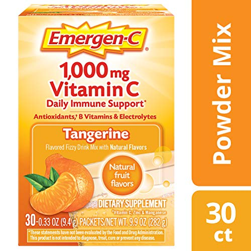 Emergen-C (30 Count, Tangerine Flavor, 1 Month Supply) Dietary Supplement Fizzy Drink Mix with 1000mg Vitamin C, 0.33 Ounce Powder Packets, Caffeine ()
