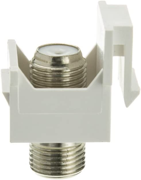 50 Pack Keystone Insert F-pin Coaxial Connector GOWOS White F-pin Female Coupler