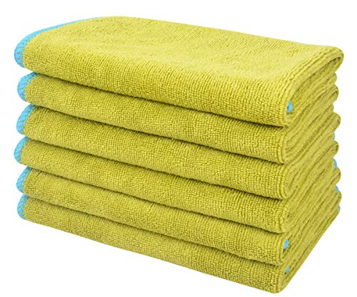 SINLAND All-purpose Microfiber Cleaning Cloths Wiping Highly Absorbent & Lint Free Dusting Rags for Home and Kitchen 12Inchx12Inch Chartreuse 6 Pack ()