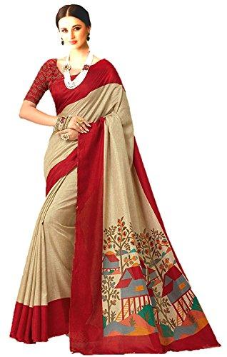 Jaanvi Fashion Designer Manipuri Silk Beige Printed Saree