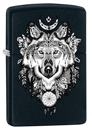 Zippo Lighter: Wolf, Aztec Artwork - Black Matte -