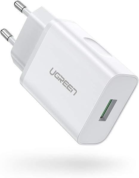 UGREEN Quick Charge 3.0 Chargeur Secteur USB Rapide 18W Puce Améliorée Compatible avec Samsung S10 S9 S8 A40 A50, Huawei P20 P30 Mate 20, Xiaomi Redmi