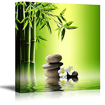 Canvas Prints Wall Art - Relaxing Scene of Stones and Bamboo on Water   Modern Wall Decor/Home Decoration Stretched Gallery Canvas Wrap Giclee Print. Ready to Hang - 12