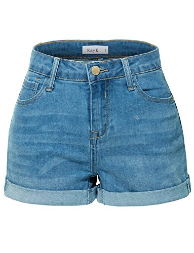 RK RUBY KARAT Womens Stretchy High Rise Cuffed Denim Shorts With Pockets by RK RUBY KARAT