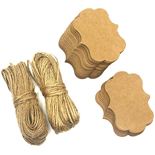 Trasfit 100 Pieces Kraft Paper Gift Tags Hang labels with 100 Feet Natural Jute Twine for Crafts & Price Tags Lables (Kraft Paper Hang Tags)