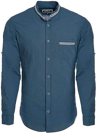 Carisma CRM8489 - Camisa de lino, cuello alto, color azul marino: Amazon.es: Ropa y accesorios