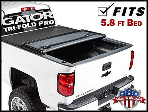 Gator Pro Tri-Fold (fits) 2014-2018 Chevy Silverado GMC Sierra 5.8 FT Bed Only Soft Folding Tonneau Truck Bed Cover (GSF0132) Made in The USA (Best Folding Tonneau Cover For Silverado)